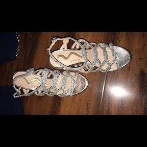 Silver nina high heels, size 6.5